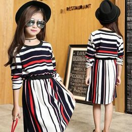Wholesale Fashion Boutique Dress Girls Dresses Grace Beauty Princess Colorful Stripe Dress With Long Sleeved Girl Clothing Online DHL Free