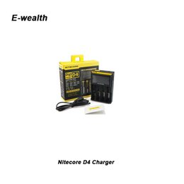 Authentic Nitecore I2 I4 D2 D4 Universal Intelli charger LCD Display 18350 18650 battery Charger for ipv d5 ipv 5 box mod DHL
