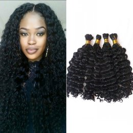 Mongolian Deep Wave Curly Human Hair Extensions 4 Bundles Natural Color Human Braiding Hair Bulk No Weft DSHINE