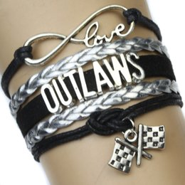 Wholesale Pieces High Quality Infinity Love Outlaws Multilayer Bracelet Finish Line Chequered Flag Black Suede Leather Custom
