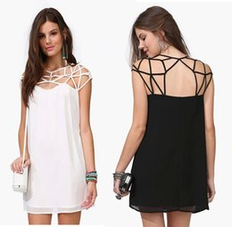 Wholesale Fashion gridding net hollow out casual dresses mesh interweaving cutout black chiffon dress spider web patchwork evening dresses
