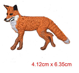 Low Price Custom New Iron-On Applique Embroidered Patch Wild Red Walking Fox Facing Left free shipping