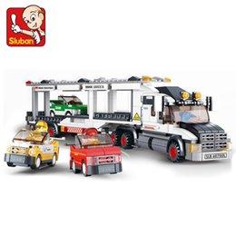 Wholesale Sluban Auto Transport Truck Speedway Trailer Building Blocks Set Simcity Transport Vehicle Brick Toy Gift Education DIY Toys