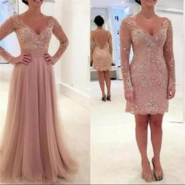 Blush Pink Prom Dresses 2017 Long Sleeve with Detachable Train Vintage Lace Sheath Vestido De Festa Long Formal Evening Gowns Amazing Gowns