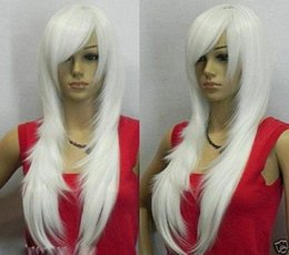 High Quality Fashion Picture full lace wigs >Women Pure Color New Wig Cosplay Long White Straight Women Full Wig