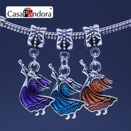 CasaPandora 3 Colors Silver-colored Angel Trumpeter Pendant Fit Bracelet Charm DIY Enamel Making Pingente Berloque Christmas