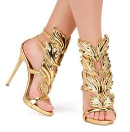 Wholesale 2016 New Design Winged Women Sandals Silver Nude Pink Gold Leaf High Heels Gladiator Sandals Women Pumps Shoes Woman Sandalias