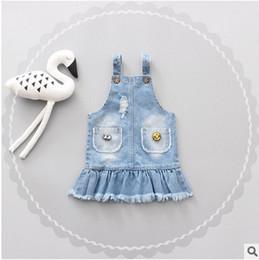 Bébé cowboy vêtements à vendre-Baby Kids robe princesse 2017 baby grils denim brosse en dentelle habillement enfant tout-petits enfants All-Match vêtements de cow-boy vêtements pour enfants T1688