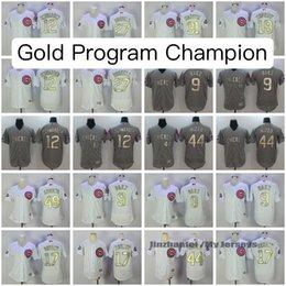 Chicago Cubs 2016 CHAMPION White Gold Program Jerseys Baseball FLEX BASE Jerseys Kris Bryant Anthony Rizzo Jake Arrieta Kyle Schwarber