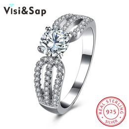 Visisap Elegant Ring AAA cubic zirconia Pure Solid 925 Sterling silver wedding jewelry engagement rings for women VSVR128