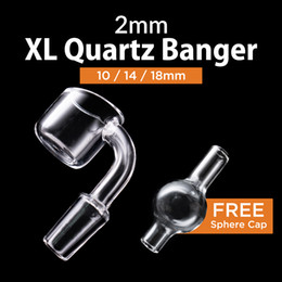 2mm thick club XL Quartz banger 25mm Free carb cap domeless nails 10mm 14mm 18mm male female 90 45 Degree Quartz Banger Nail