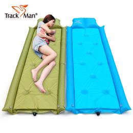 Venta al por mayor-Trackman sola persona colchón inflable cojines estera alfombra para dormir estera de picnic ir de excursión montar en bicicleta alfombra de camping al aire libre desde almohadilla para el ciclismo fabricantes