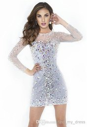 Meilleur manches courtes manches à vendre-Best Selling Gorgeous Mini Robes de Cocktail Crew Neck Long Sleeve Strass Cristal Beads White Short Prom Gowns Custom Made 332