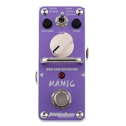 Wholesale New Arrival AROMA AMC Mini Single Guitarra Effect Pedal True Bypass Manic High Gain Distortion Electric Guitar Effect Pedal