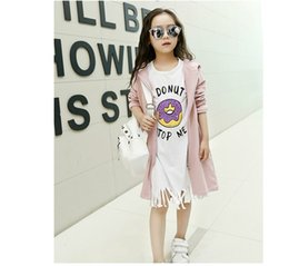 Wholesale 2016 Children Girls Micky Mouse Printed Long Sleeve Coat White Basic Tassel Shirt Outfits Kids Girl Grey Pink Coat Set B4378