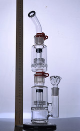Promotion crdp de verre 17 pouces bongs en verre Stereo Matrix amovibles percs verre tuyau d'eau plate-formes pétrolières base solide avec clips 18 mm joint
