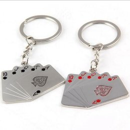 New creative poker with floral key chain creative men's car key chain metal key chain jewelry wholesale