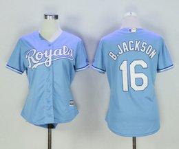 Dame ville en Ligne-Femmes Kansas City Royales jersey 16 Bo Jackson 6 Lorenzo Cain 4 Alex Gordon filles dames à l'extérieur Maillots de base-ball Mix Ordre