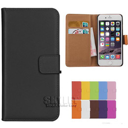 Wholesale For iphone Plus Real Genuine Leather Wallet Case Cover Credit Card Holder Stand Slot Case For Galaxy S7 S6 With OPP Package