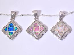 Wholesale & Retail Fashion Jewelry Fine Blue&White&Pink Fire Opal Stone Silver Plated Pendants For Women PJ16011008