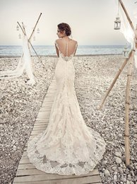 2017 Wedding Dresses Eddy K Aires Mermaid Appliques Lace Gorgeous V-Neck and Back Cap Sleeve Vintage Lace Wedding Gowns Custom Made