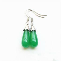 Fashion women's earrings natural green Malay jade earrings