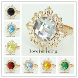 22 Colors Pick-100pcs lot Clear Gem Napkin Rings Vintage Style Gold-tone Metal Rings Wedding Decor Napkin holder