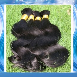Wholesale Cheap Braided Hair Extensions - Top Quality Body Wave Brazilian Hair Weave in Bulk No Attachment Cheap Wavy Human Hair Extension Bulk Hair For Braiding 3 Bundles Deal