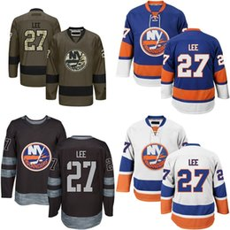 2016 New MENS New York Islanders 27 Anders Lee Hockey Jersey Blue White Black Green 100% Embroidery logo Authentic uniforms Size M-3XL