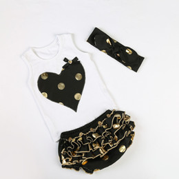 Girls Boutique Clothing Black Gold Polka Dots Metallic Baby Clothes Heart Embroider Top Bloomer Set Toddler Outfit