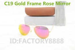 1pcs High Quality Men Women Designer Pilot Sunglasses Sun Glasses Gold Flash Rose Mirror Glass Lenses 58mm 62mm UV400 Protection Box Cases