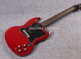 Venta al por mayor guitarra eléctrica del spegal P90 del SG de la nueva llegada, guitarra sólida de la firma del SG rojo del vino, cuerpo de caoba del AAA, envío libre desde cuerpo sg fabricantes