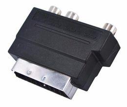 S audio vidéo hdmi en Ligne-HOT RGB Scart to Composite 3 RCA S-Vidéo AV TV Audio Adaptateur Convertisseur Scart to RCA