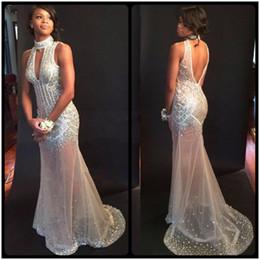 Sexy Shinny Mermaid Prom Dress Halter Prom Dress Backless Beading Sleeveless Floor Length Prom Dresses 2017 Party Dress