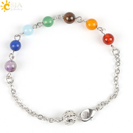 Promotion lien pour perles CSJA Femmes Reiki Prière Stone Summer Beach Yoga Bijoux Bracelet Chain Link 7 Chakra Guérison Balance Jade Gem perles Hameçon Broche Crochet E117