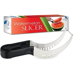 Watermelon Slicer Corer & Server Cutter Tongs for Melons More, Stainless Steel Knife Peeler by Chuzy Chef