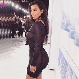 Promotion robes moulantes kardashian Gagaopt Kim Kardashian Robes de soirée Deep V-Neck sexy noir Mesh Robe Femmes plissé Draw String Robe Robe Bodycon Robes