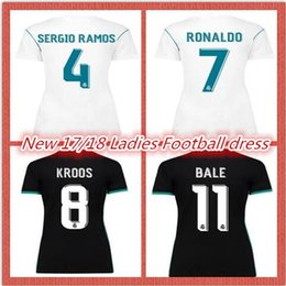 new2017 2018 women's football suits RONALDO KROOS CARNAJAL BENZEMA BALE white soccer girls girls short-sleeved clothes