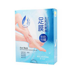 Wholesale ROLANJONA feet mask Milk and Bamboo Vinegar Feet Mask Feet care whitening Foot mask Foot skin Peeling Exfoliating regimen pair