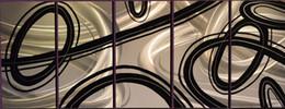 5 панелей Черные линии Алюминий Металл Настенная живопись Абстрактная живопись Большие крытые и наружные Современные декоративные произведения искусства от Производители подкладке панель