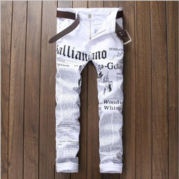Wholesale Mens White Pant John Males Galliano Top Quality Punk Rock DS DJ Newspaper printed pattern Slim jeans Hairstylist beggar pants