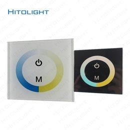 24v диммер панель для продажи-HITOLIGHT DC12-24V настенный стекло сенсорной панели Светодиодный контроллер для двойной цвет Светодиодные полосы света 5050,2835 2 ключа диммер настенный выключатель