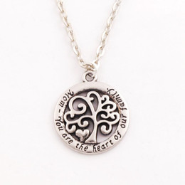 2017 Hot Mom You Are The Heart Of Our Family family Tree Of Life Chain Necklace Fashion Pendant Necklaces N1663 24inches