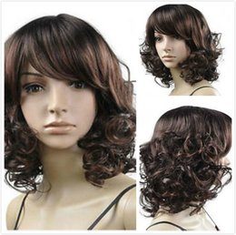 100% New High Quality Fashion Picture full lace wigs 2016 Full Classic Cap Curly And Medium Women's Wig Brown Synthetic Hair Wigs