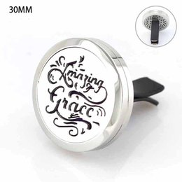 Wholesale New Arrival mm Magnetic L Stainless Steel Amazing Grace Car Perfume Locket Car Aroma Essential Oil Diffuser Locket