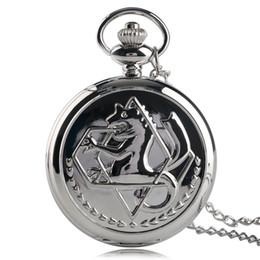 Mujer del reloj del collar en venta-El regalo de cumpleaños de plata del collar de los muchachos de los hombres de las mujeres de la hora del reloj del cuarzo de la historieta del reloj de bolsillo del alquimista de 2014 del Anime Fullmetal libera el envío