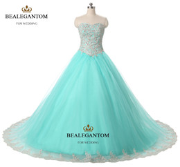 2017 Mint Blue Quinceanera Dresses Ball Gown With Lace Ruffle Sequins Shiny Sweet 16 Prom Pageant Party Gowns QC126