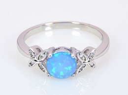 Wholesale & Retail Fashion Fine Blue Fire Opal Ring 925 Silver Plated Jewelry For Women RMF16032602