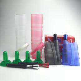 Promotion porter coloré Mini bong de verre de machine à huile chaude avec 5 morceau-ensemble plate-forme de pétrole pliée de silicone colorée facile à porter pour fumer