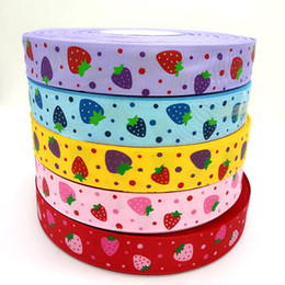 "10 yards 1"" grosgrain ribbon printed strawberry DIY Weaving wedding christmas decorations for making hair bows R006"